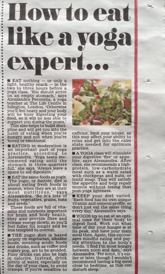 The Daily Mail, 2nd Feb 2015 . Yoga and Nutrition Pull out